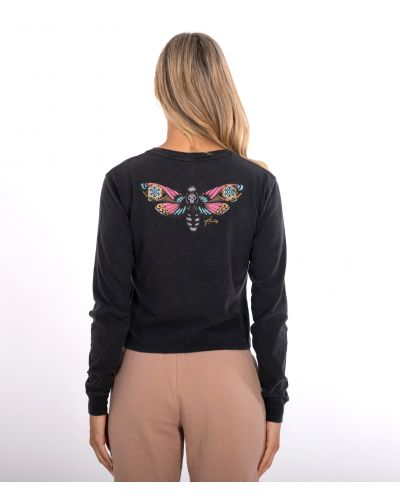 OCEANCARE WASHED BUTTERFLY L/S TEE - WOMEN|BLACK|L