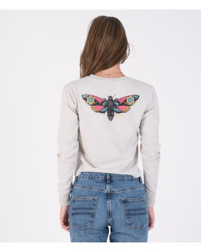 OCEANCARE WASHED BUTTERFLY L/S TEE - WOMEN|GREY|XS