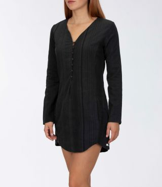 W SUNSET L/S DRESS|BLACK|S