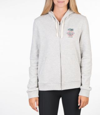 TRES PALMS FLEECE ZIP - WOMEN|GREY HTR|S