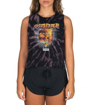 MOORE CROP BIKER TANK - WOMEN|BLACK|XS