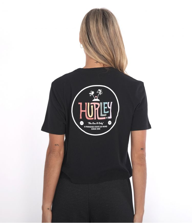 STATE OF MIND CROPPED CREW TEE - WOMEN|CAVIAR|L