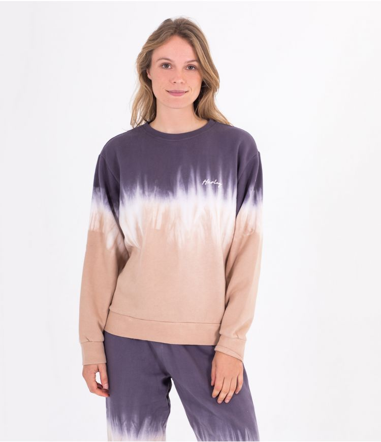 DOUBLE DIP DYE FLEECE CREW - WOMEN|GREY|XS