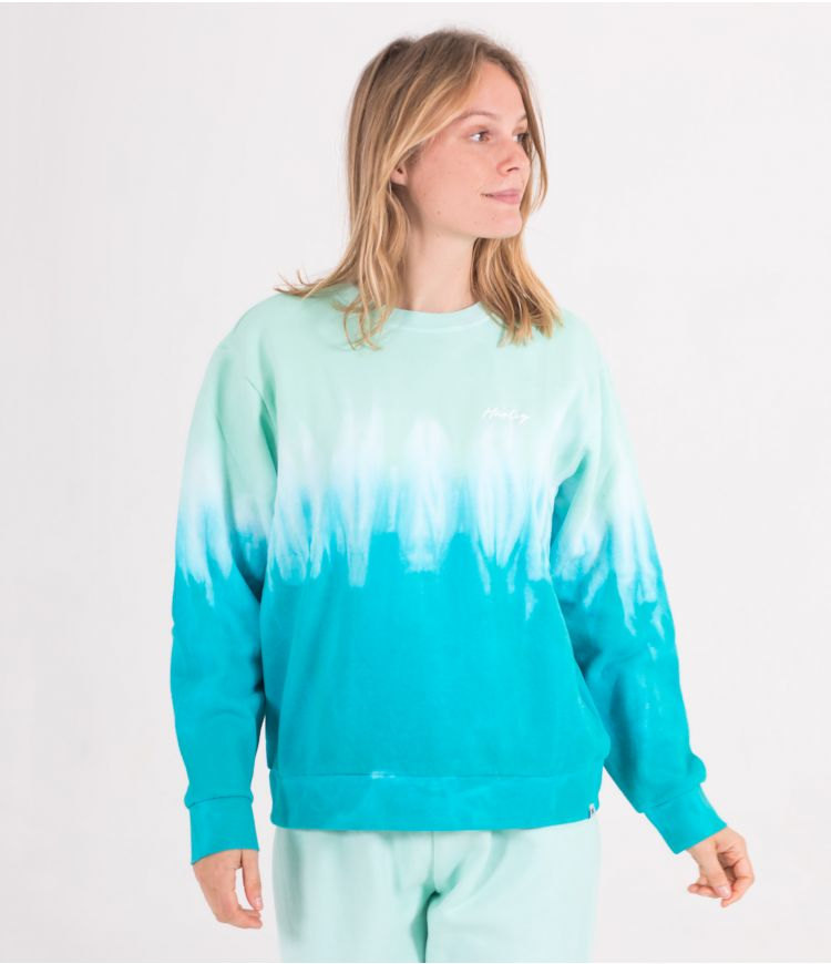 DOUBLE DIP DYE FLEECE CREW - WOMEN|LIGHT DEW|XS