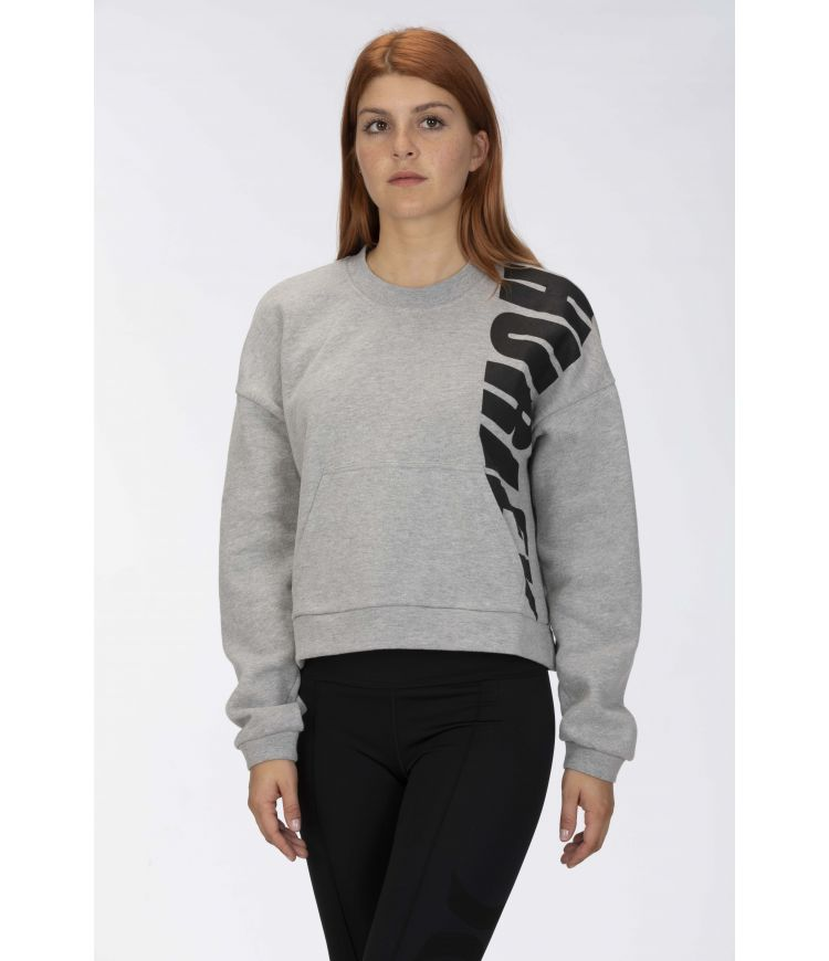 SPORT BLOCK FLEECE CREW - WOMEN|GREY HTR|L