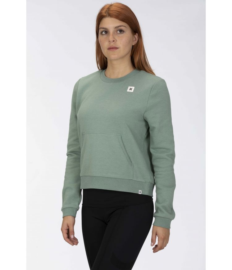ICON FLEECE CREW - WOMEN|SILVER PINE HTR|L