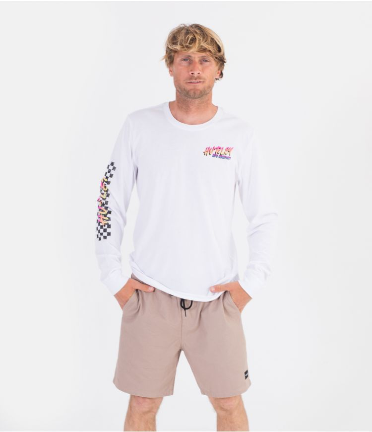 EVERYDAY WASHED RACER SCRIPT L/S - MEN|WHITE|XXL