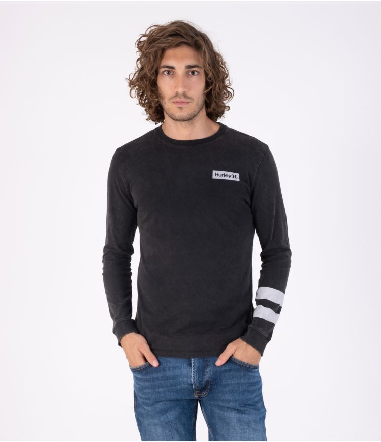 OCEANCARE WASHED BLOCK PARTY L/S TEE - MEN|BLACK|S